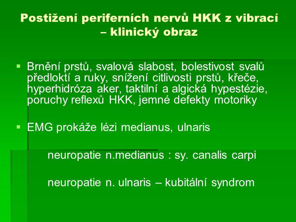 Postižení periferních nervů HKK z vibrací – klinický obraz