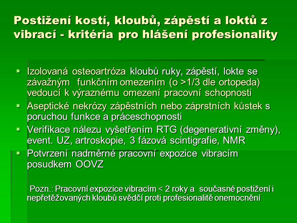 Postižení kostí, kloubů, zápěstí a loktů z vibrací - kritéria pro hlášení profesionality