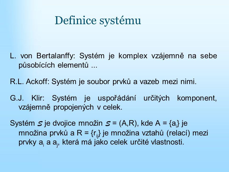 Definice systému L. von Bertalanffy: Systém je komplex vzájemně na sebe působících elementů ...