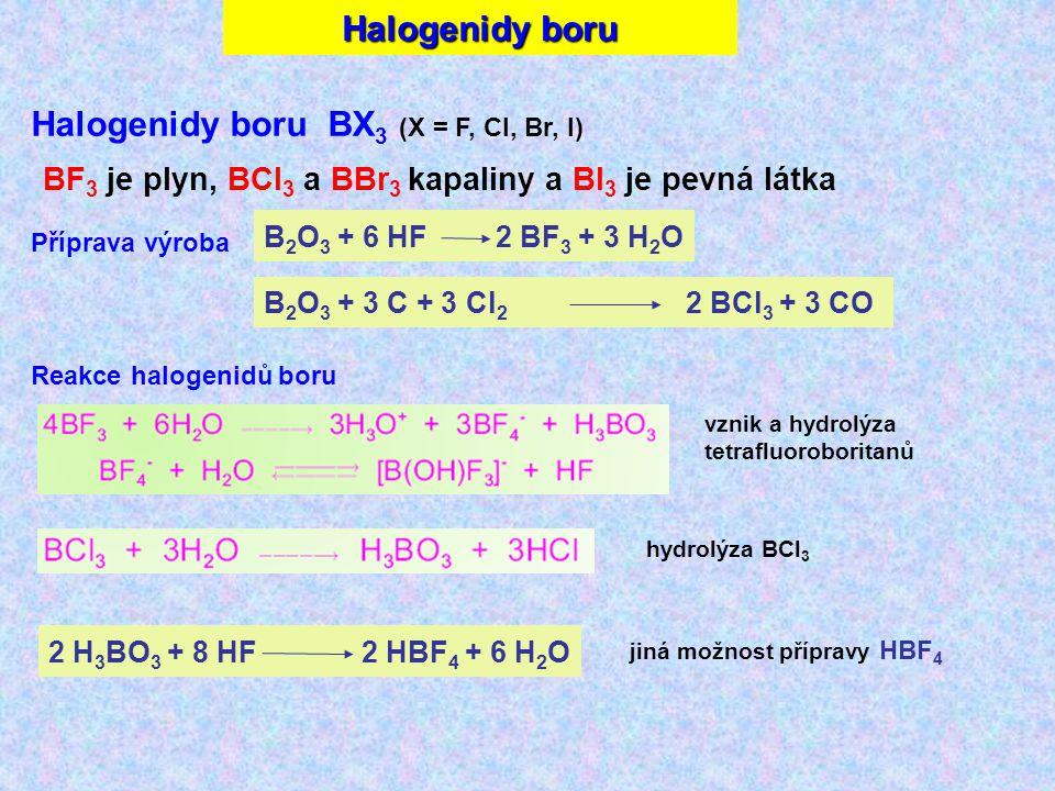Halogenidy boru BX3 (X = F, Cl, Br, I)