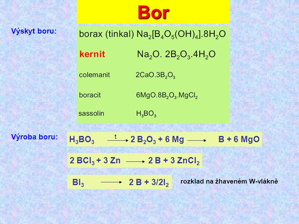 Bor H3BO3 2 B2O3 + 6 Mg B + 6 MgO 2 BCl3 + 3 Zn 2 B + 3 ZnCl2