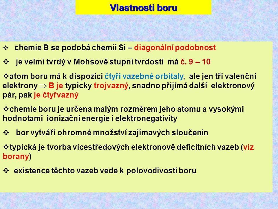 Vlastnosti boru je velmi tvrdý v Mohsově stupni tvrdosti má č. 9 – 10
