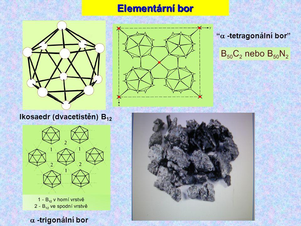 Elementární bor  -tetragonální bor Ikosaedr (dvacetistěn) B12
