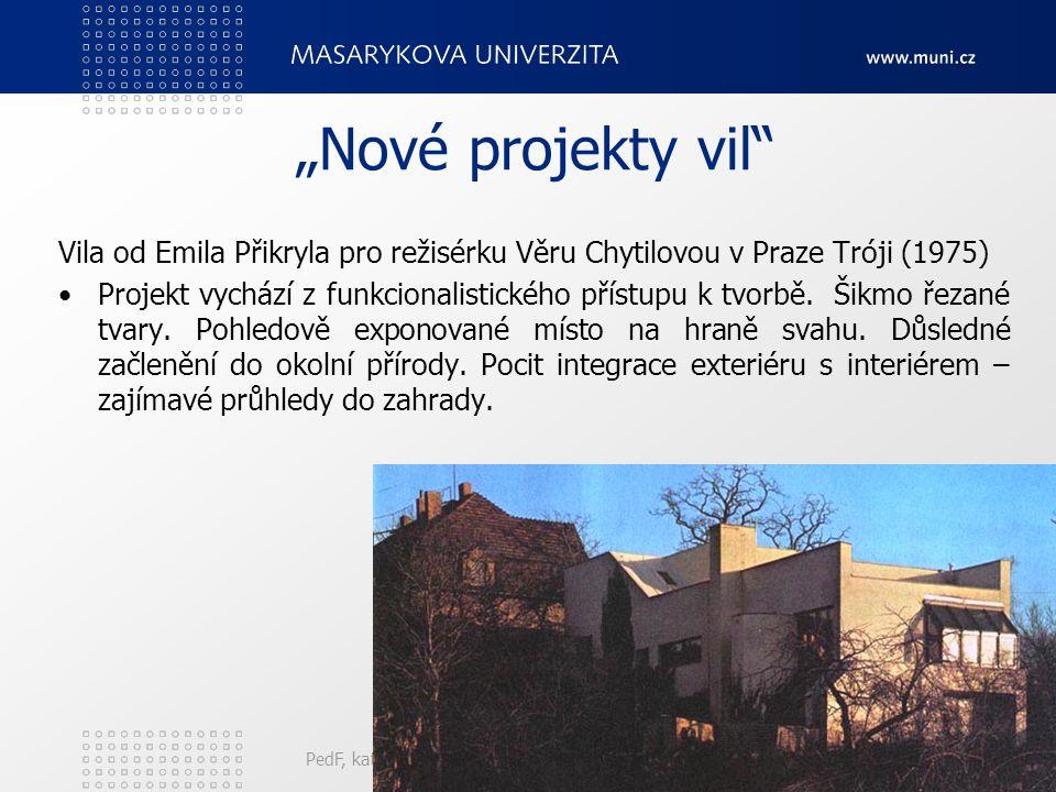 """""""Nové projekty vil Vila od Emila Přikryla pro režisérku Věru Chytilovou v Praze Tróji (1975)"""