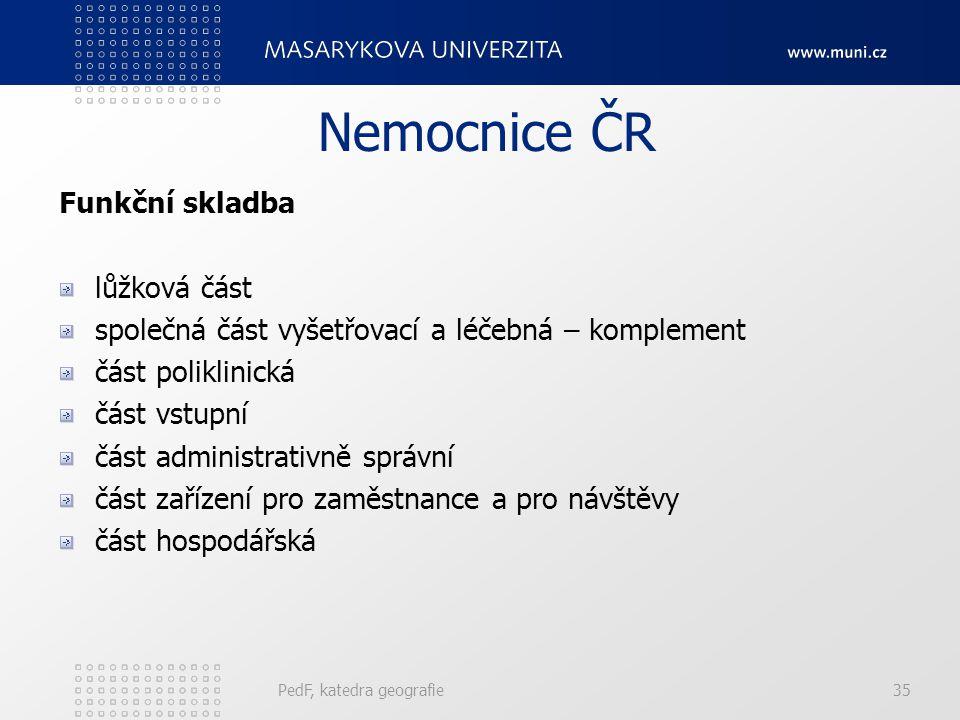 Nemocnice ČR Funkční skladba lůžková část