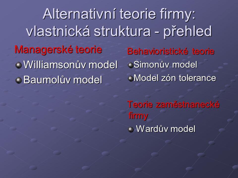 Alternativní teorie firmy: vlastnická struktura - přehled