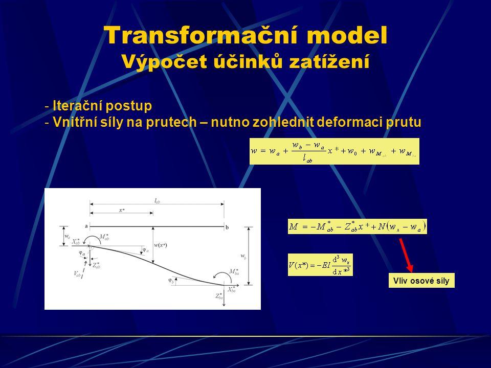 Transformační model Výpočet účinků zatížení