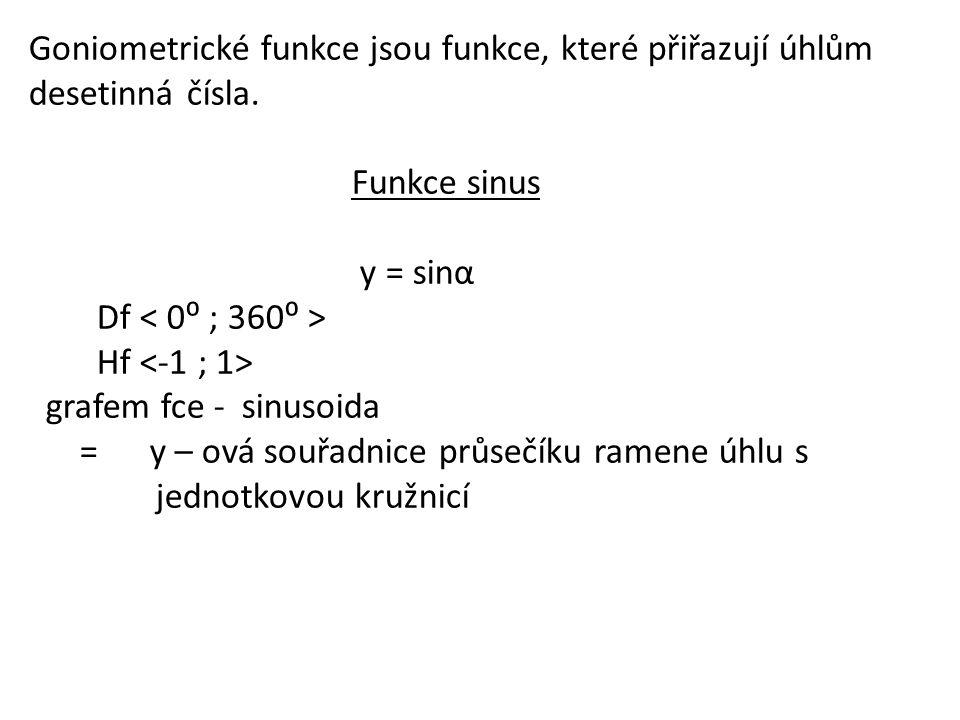 Goniometrické funkce jsou funkce, které přiřazují úhlům