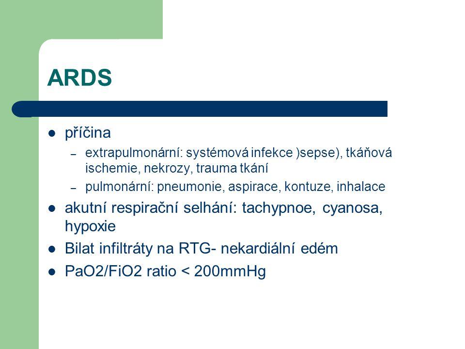 ARDS příčina akutní respirační selhání: tachypnoe, cyanosa, hypoxie