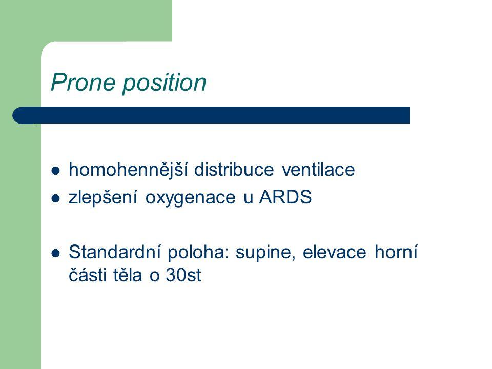 Prone position homohennější distribuce ventilace