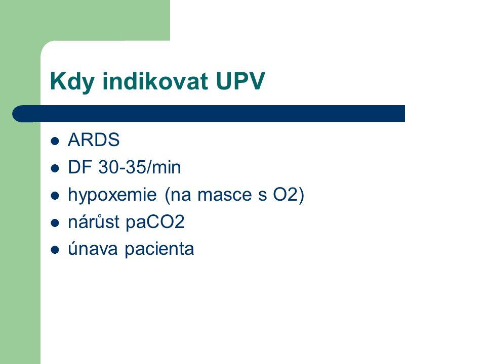 Kdy indikovat UPV ARDS DF 30-35/min hypoxemie (na masce s O2)