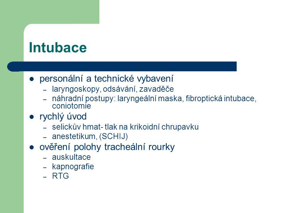 Intubace personální a technické vybavení rychlý úvod