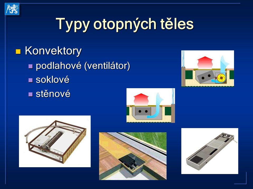Typy otopných těles Konvektory podlahové (ventilátor) soklové stěnové