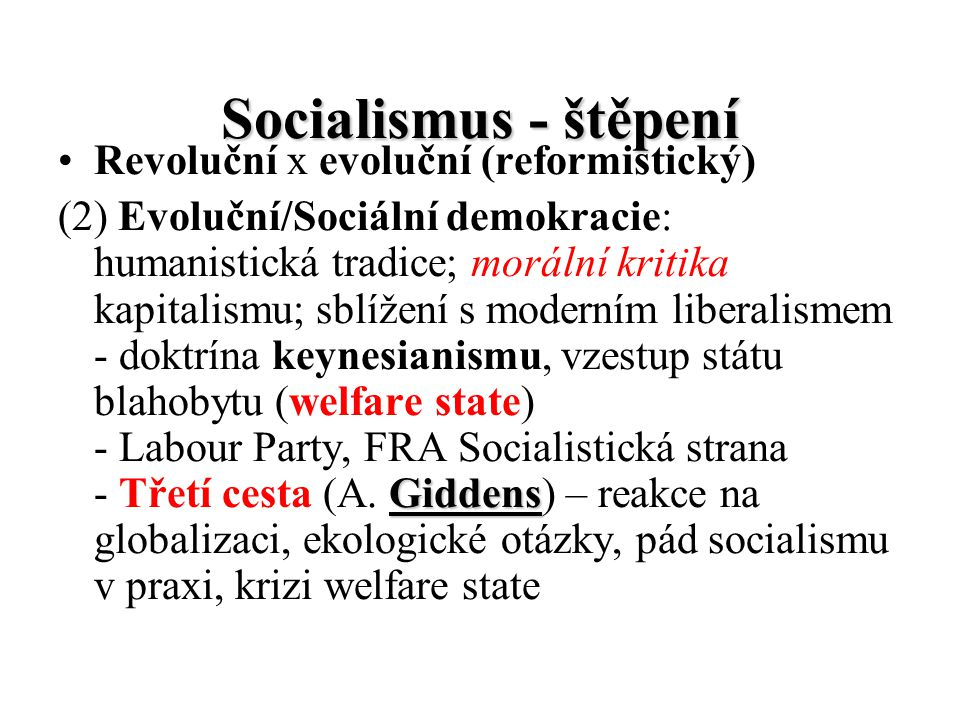 Socialismus - štěpení Revoluční x evoluční (reformistický)