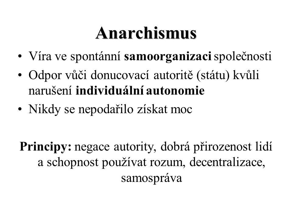 Anarchismus Víra ve spontánní samoorganizaci společnosti
