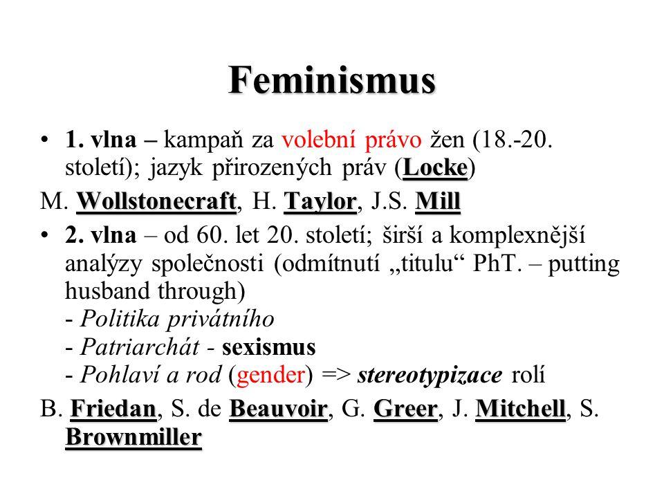 Feminismus 1. vlna – kampaň za volební právo žen (18.-20. století); jazyk přirozených práv (Locke) M. Wollstonecraft, H. Taylor, J.S. Mill.