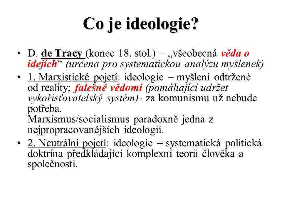 """Co je ideologie D. de Tracy (konec 18. stol.) – """"všeobecná věda o idejích (určena pro systematickou analýzu myšlenek)"""