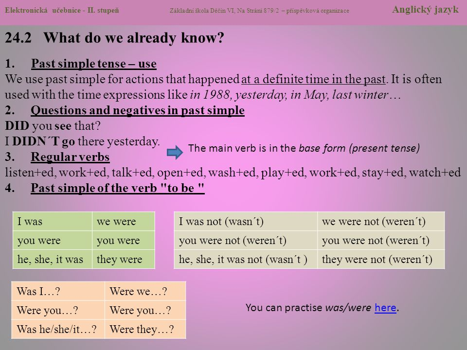 24.2 What do we already know Past simple tense – use