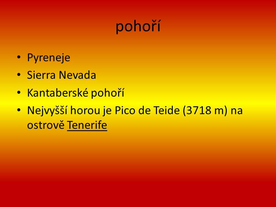 pohoří Pyreneje Sierra Nevada Kantaberské pohoří