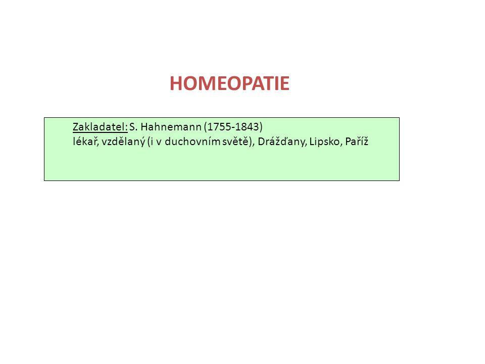 HOMEOPATIE Zakladatel: S. Hahnemann (1755-1843)