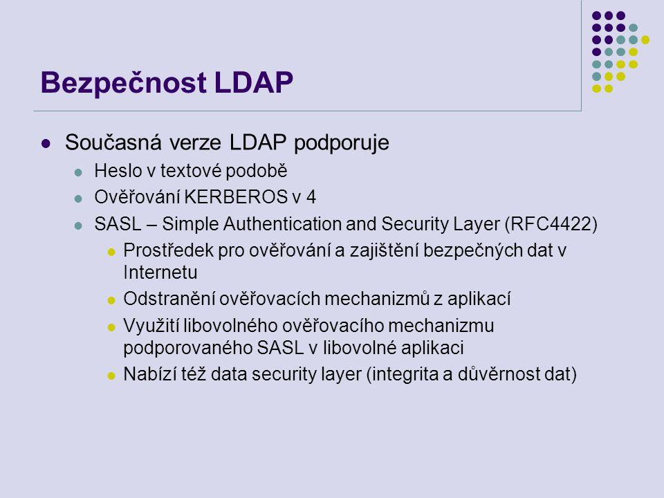 Bezpečnost LDAP Současná verze LDAP podporuje Heslo v textové podobě