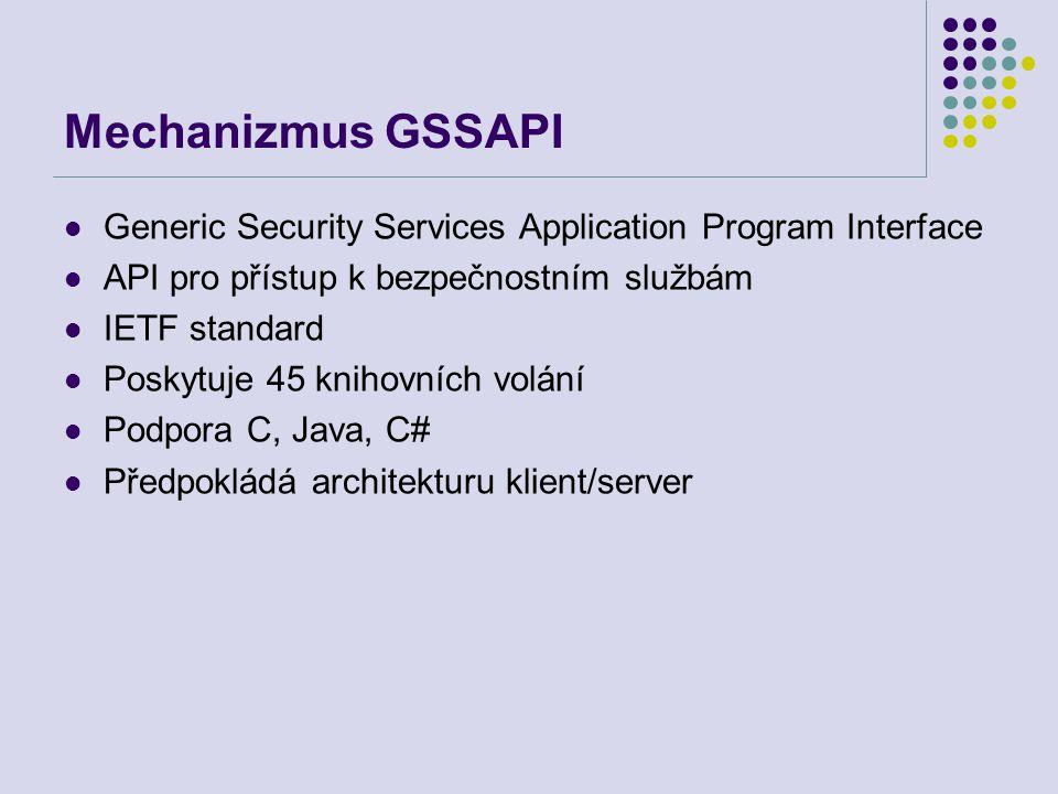 Mechanizmus GSSAPI Generic Security Services Application Program Interface. API pro přístup k bezpečnostním službám.