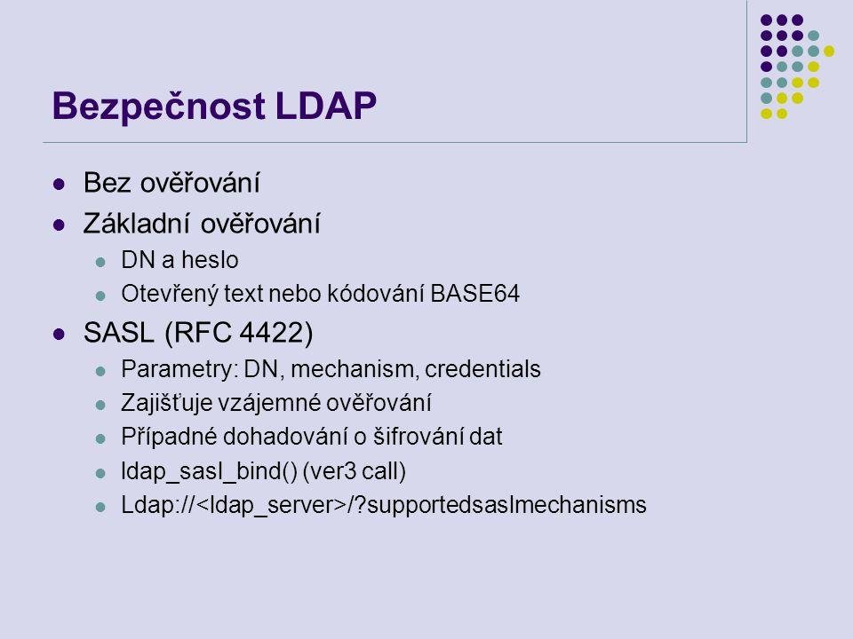 Bezpečnost LDAP Bez ověřování Základní ověřování SASL (RFC 4422)