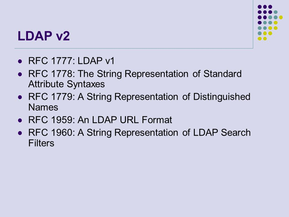 LDAP v2 RFC 1777: LDAP v1. RFC 1778: The String Representation of Standard Attribute Syntaxes.