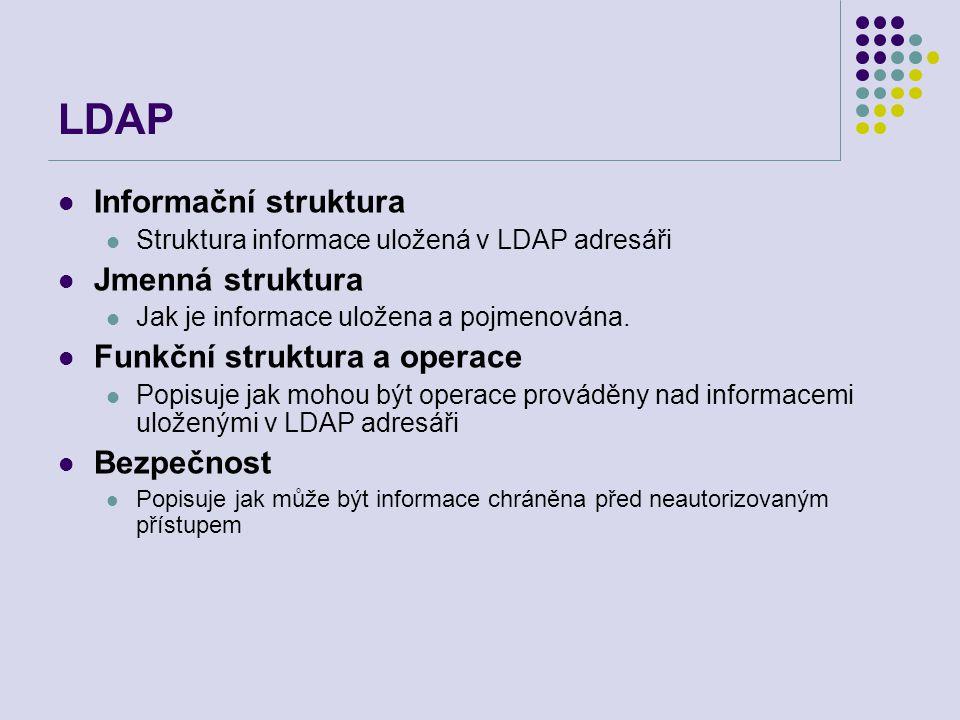 LDAP Informační struktura Jmenná struktura Funkční struktura a operace
