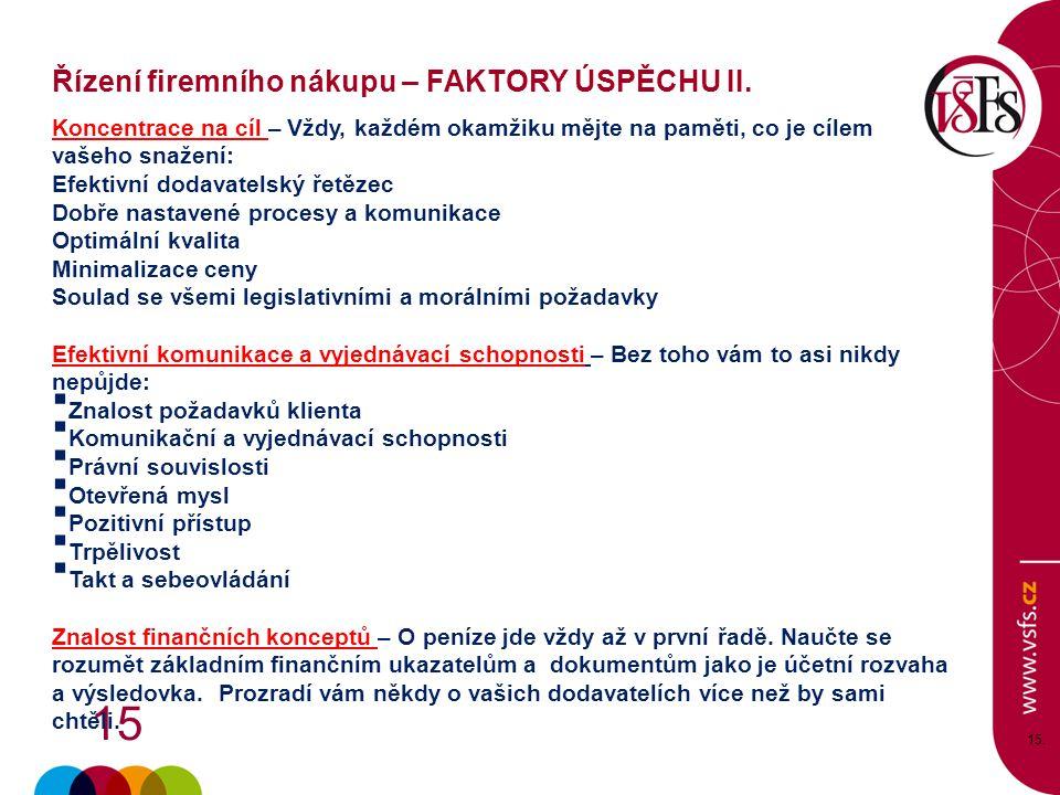 Řízení firemního nákupu – FAKTORY ÚSPĚCHU II.