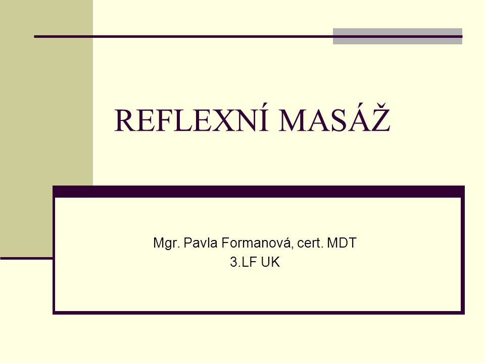 Mgr. Pavla Formanová, cert. MDT 3.LF UK