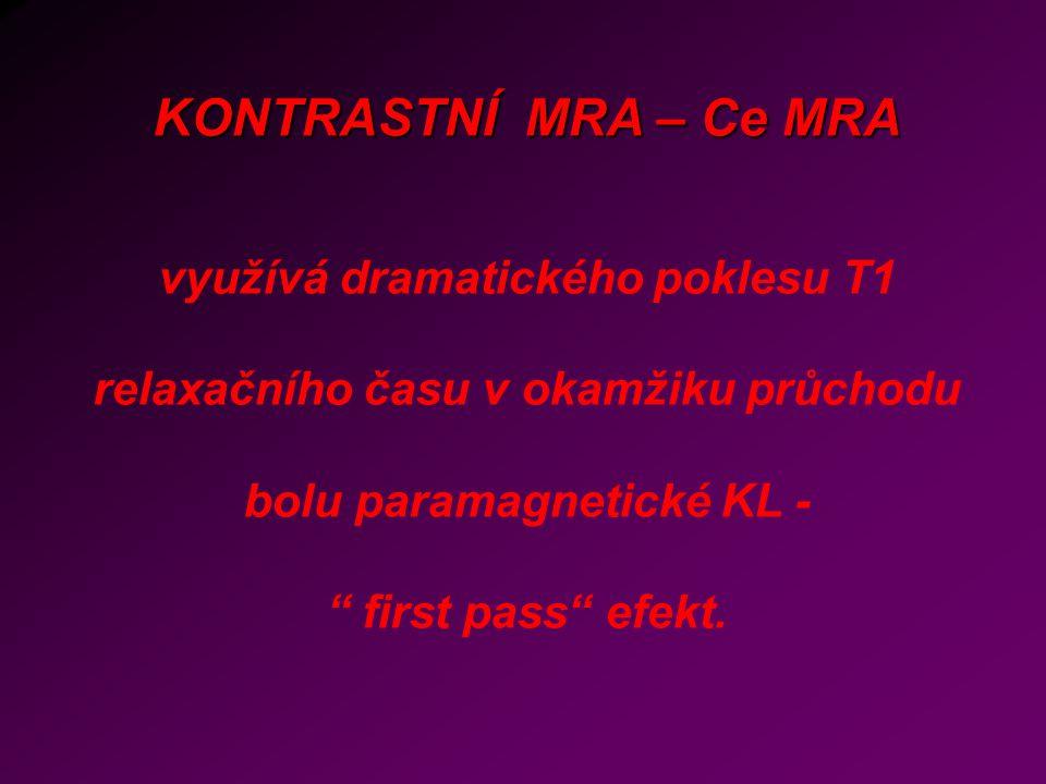 KONTRASTNÍ MRA – Ce MRA využívá dramatického poklesu T1 relaxačního času v okamžiku průchodu bolu paramagnetické KL - first pass efekt.
