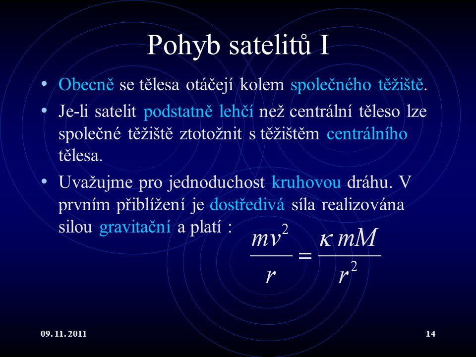 Pohyb satelitů I Obecně se tělesa otáčejí kolem společného těžiště.