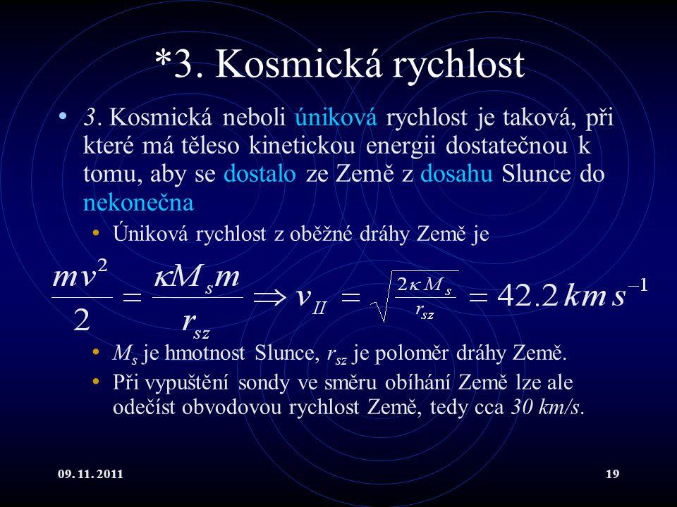 *3. Kosmická rychlost