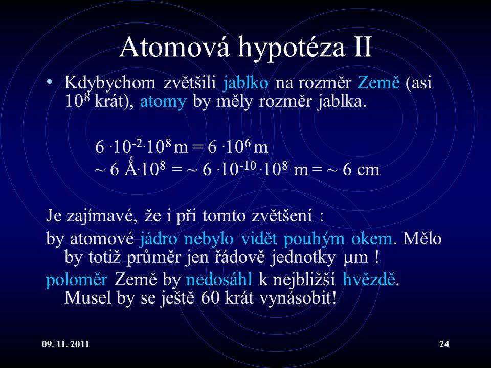 Atomová hypotéza II Kdybychom zvětšili jablko na rozměr Země (asi 108 krát), atomy by měly rozměr jablka.