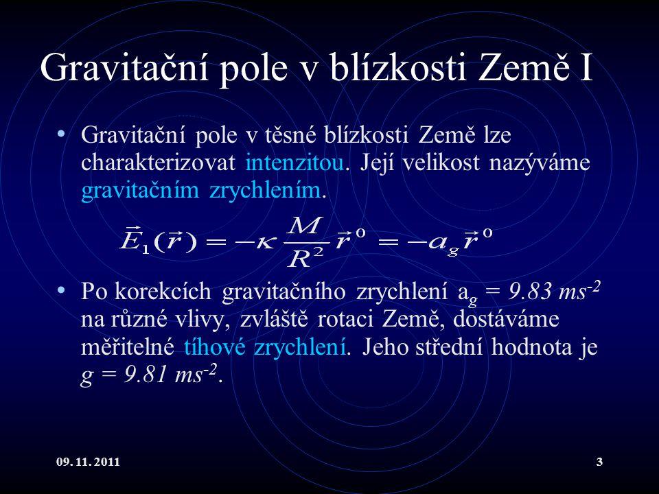 Gravitační pole v blízkosti Země I