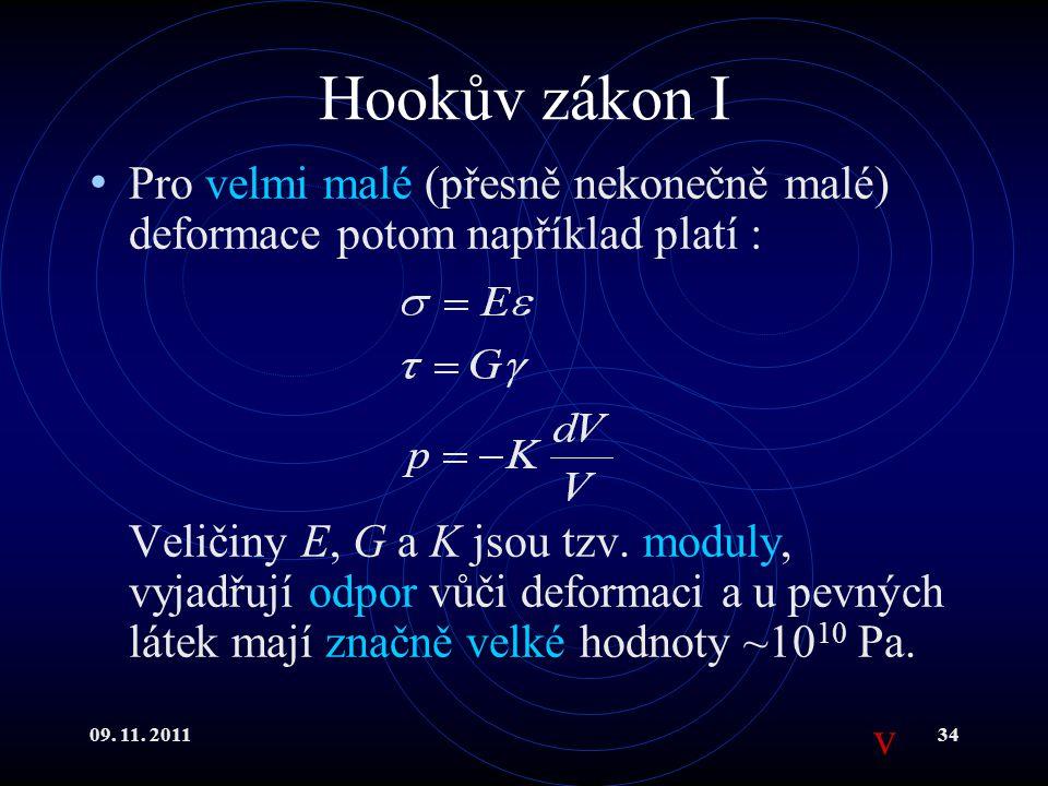 Hookův zákon I Pro velmi malé (přesně nekonečně malé) deformace potom například platí :
