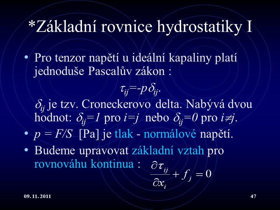 *Základní rovnice hydrostatiky I