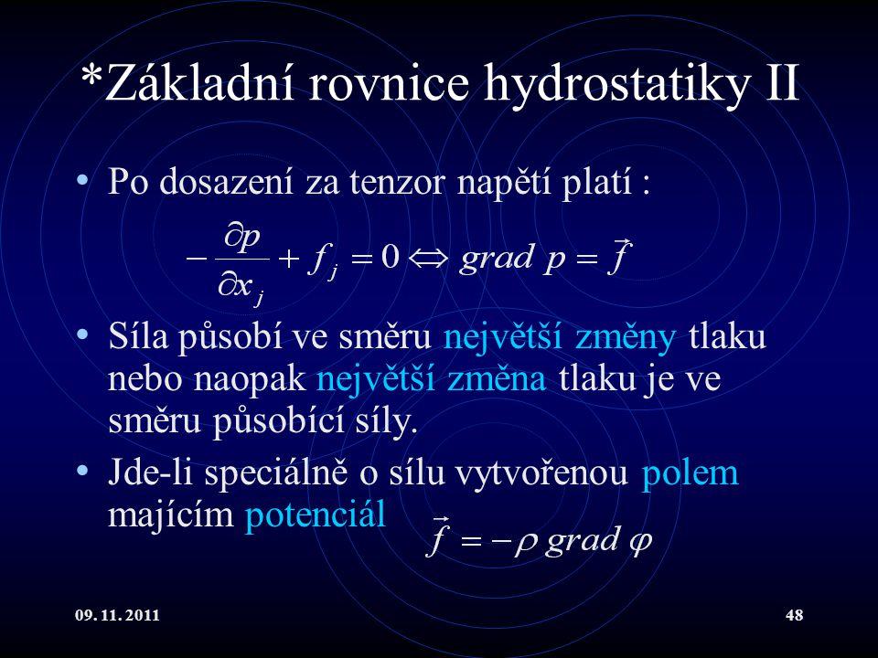 *Základní rovnice hydrostatiky II