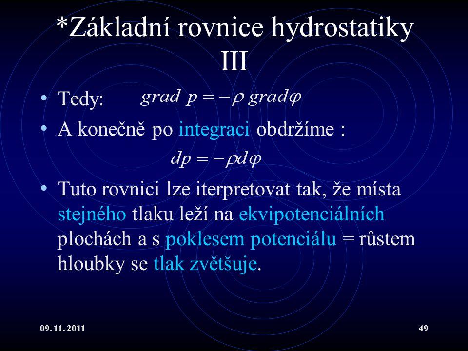 *Základní rovnice hydrostatiky III