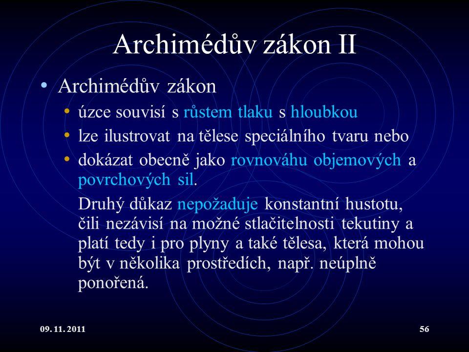 Archimédův zákon II Archimédův zákon
