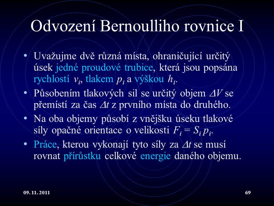 Odvození Bernoulliho rovnice I