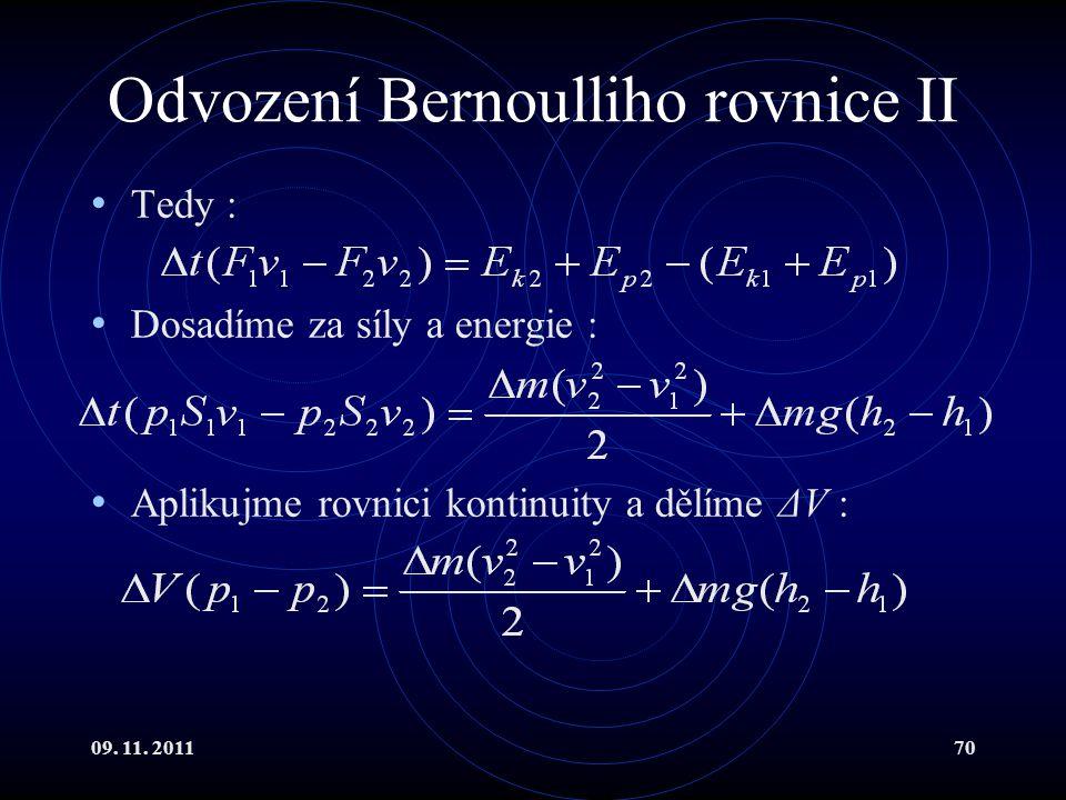 Odvození Bernoulliho rovnice II