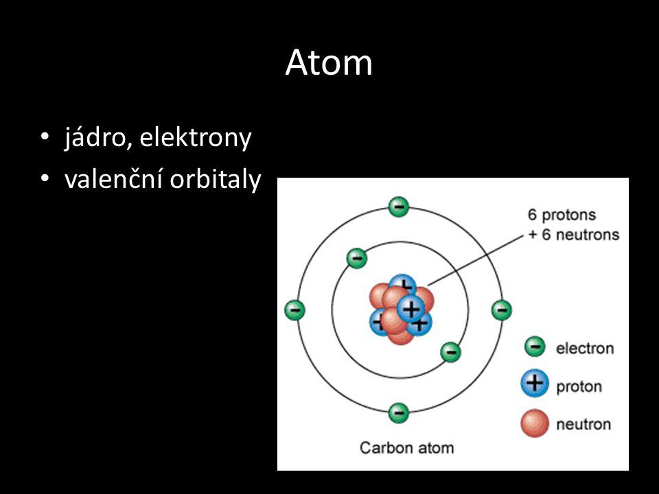 Atom jádro, elektrony valenční orbitaly