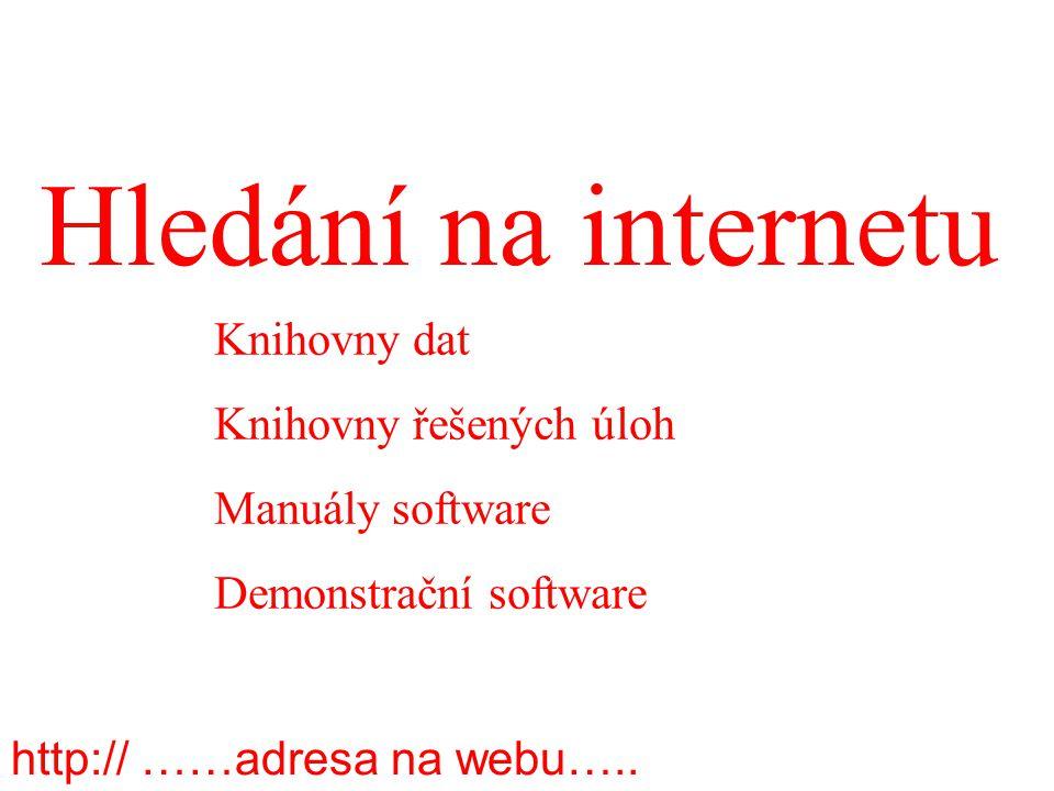 Hledání na internetu Knihovny dat Knihovny řešených úloh