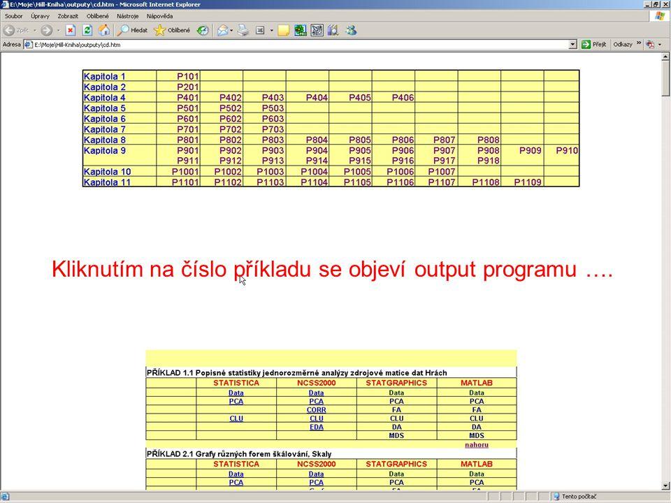 Kliknutím na číslo příkladu se objeví output programu ….