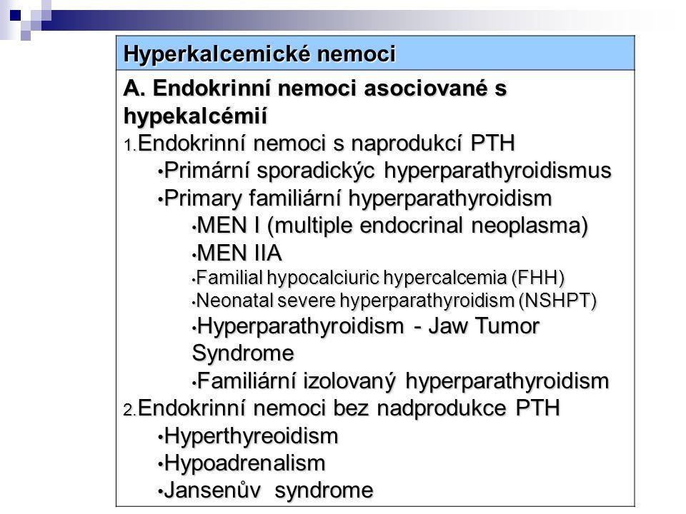 Hyperkalcemické nemoci A. Endokrinní nemoci asociované s hypekalcémií