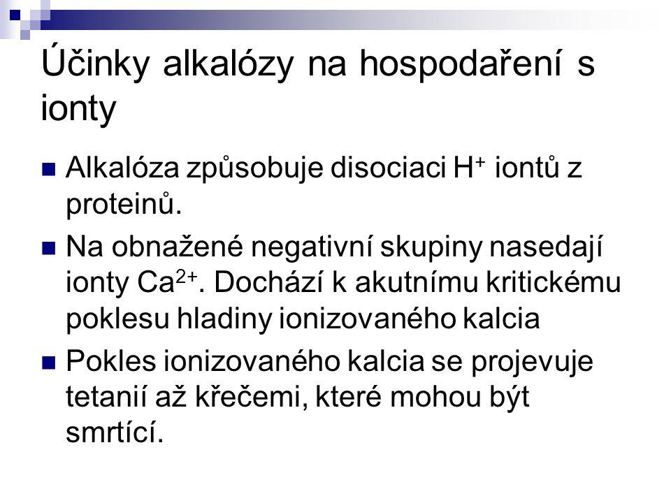 Účinky alkalózy na hospodaření s ionty