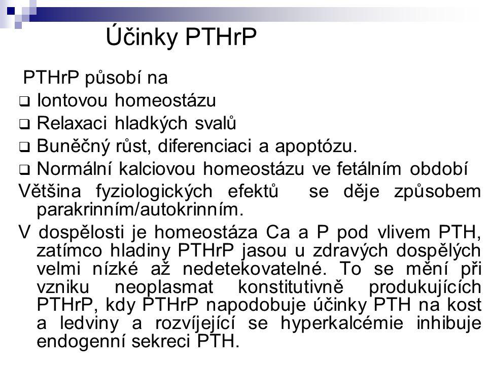 Účinky PTHrP Iontovou homeostázu Relaxaci hladkých svalů