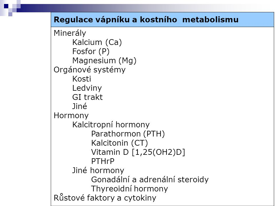 Regulace vápníku a kostního metabolismu
